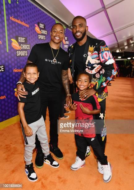 James Thomas NBA player Isaiah Thomas host Chris Paul and Jaiden Thomas attend the Nickelodeon Kids' Choice Sports 2018 at Barker Hangar on July 19...