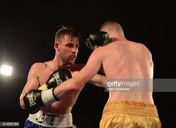 James Thompson of Bannockburn takes on William Warburton of Atherton during a Welterweight match up at Glasgow's Bellahouston Leisure Centre on May...