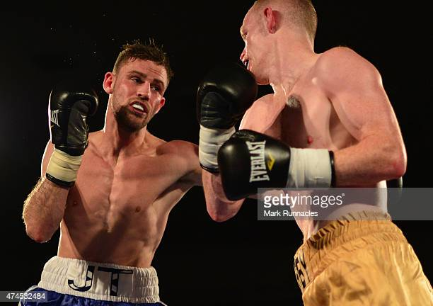 James Thompson of Bannockburn takes on William Warburton of Atherton during a Welterweight match up at GlasgowÕs Bellahouston Leisure Centre on May...