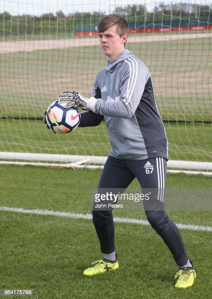 James Thompson of Manchester United U18s in action during an U18s training session at Aon Training Complex on May 2 2018 in Manchester England