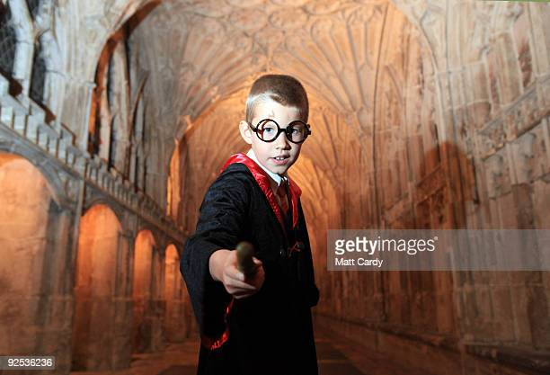 James Thomson poses for a photograph in the cloisters as he waits to see the film Harry Potter and the HalfBlood Prince on a giant screen inside...