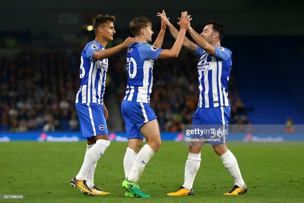 James Tilley of Brighton and Hove Albion celebrates scoring his sides first goal with his team mates during the Carabao Cup Second Round match between Brighton & Hove Albion and Barnet at Amex Stadium on August 22, 2017 in Brighton, England.