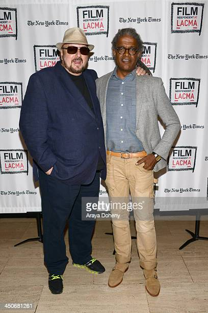 James Toback and Elvis Mitchell attend Film Independent at LACMA an Evening with James Toback at Bing Theatre At LACMA on November 19 2013 in Los...