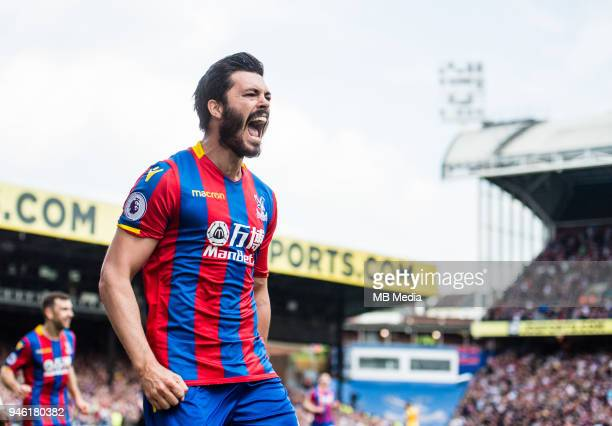 James Tomkins of Crystal Palace celebrates after scoring goal during the Premier League match between Crystal Palace and Brighton and Hove Albion at...