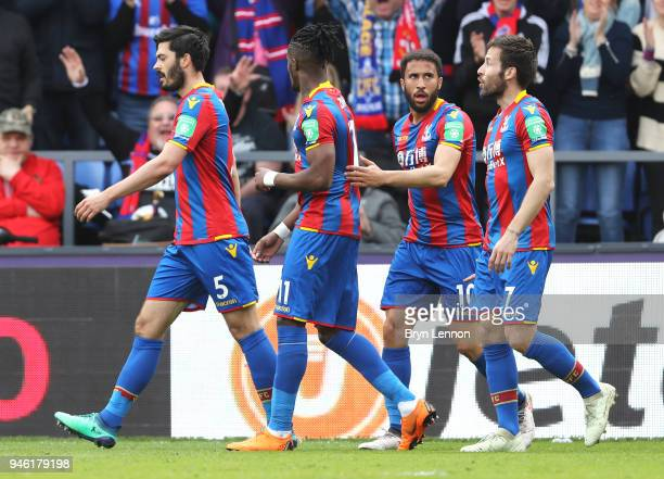 James Tomkins of Crystal Palace celebrates after scoring his sides second goal during the Premier League match between Crystal Palace and Brighton...