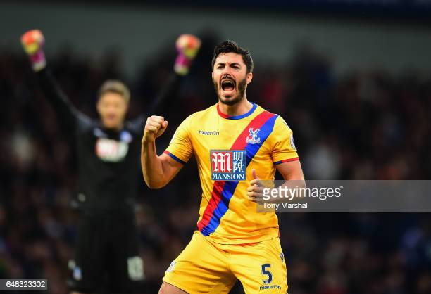 James Tomkins of Crystal Palace celebrates Andros Townsend of Crystal Palace scoring their second goal during the Premier League match between West...