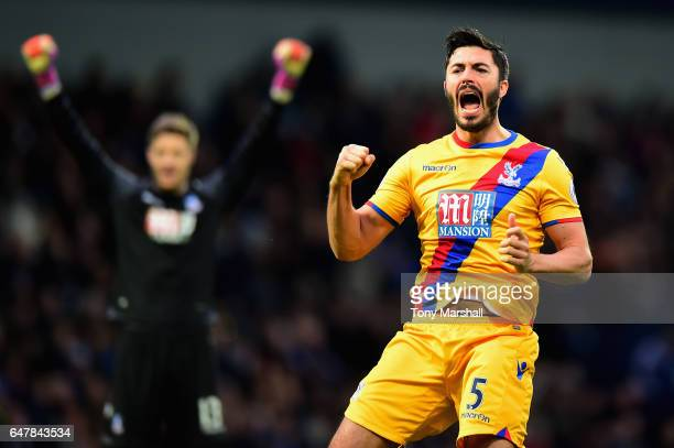 James Tomkins of Crystal Palace celebrates his sides second goal during the Premier League match between West Bromwich Albion and Crystal Palace at...