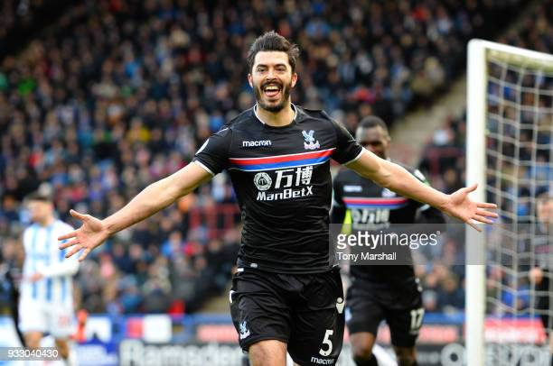 James Tomkins of Crystal Palace celebrates scoring his side's first goal during the Premier League match between Huddersfield Town and Crystal Palace...