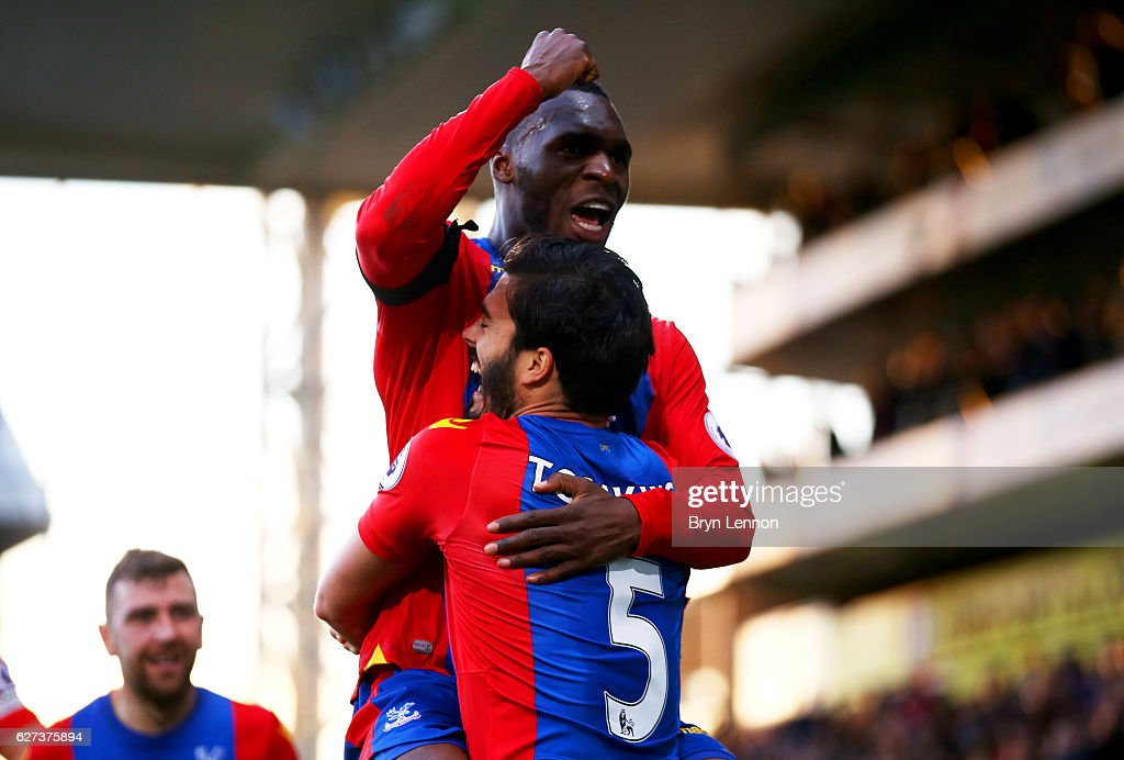 James Tomkins (R) of Crystal Palace celebrates scoring his team's second goal with his team mate Christian Benteke (L) during the Premier League match between Crystal Palace and Southampton at Selhurst Park on December 3, 2016 in London, England.