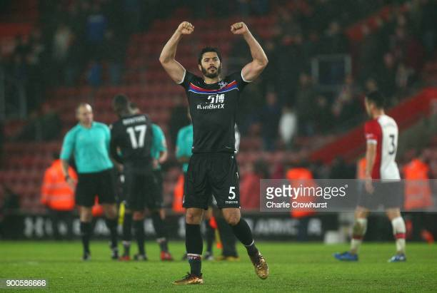 James Tomkins of Crystal Palace celebrates victory after the Premier League match between Southampton and Crystal Palace at St Mary's Stadium on...