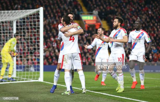 James Tomkins of Crystal Palace celebrates with his team mates after scoring a goal to make it 22 during the Premier League match between Liverpool...