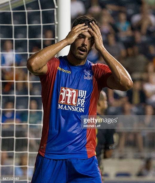 James Tomkins of Crystal Palace FC reacts during the match against the Philadelphia Union during the international friendly at Talen Energy Stadium...