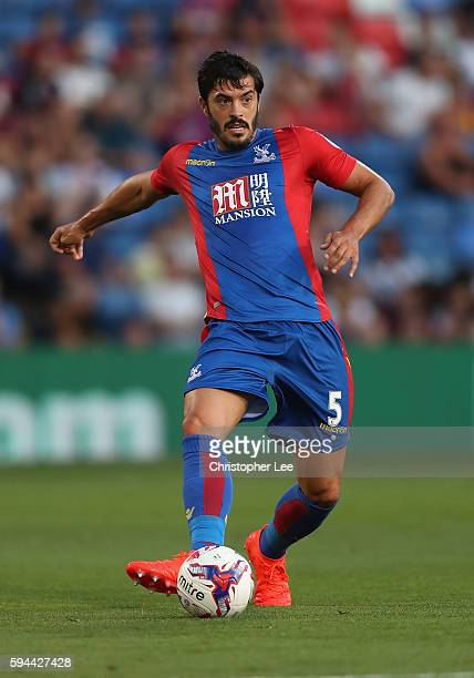 James Tomkins of Crystal Palace in action during the EFL Cup Second Round match between Crystal Palace and Blackpool at Selhurst Park on August 23...