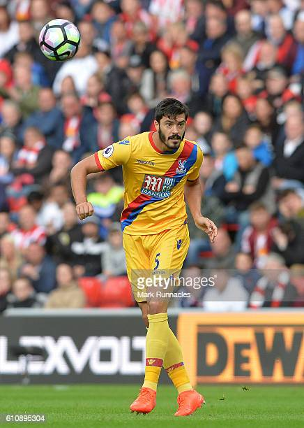 James Tomkins of Crystal Palace in action during the Premier League match between Sunderland FC and Crystal Palace FC at Stadium of Light on...