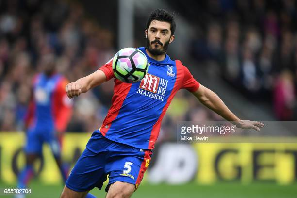 James Tomkins of Crystal Palace in action during the Premier League match between Crystal Palace and Watford at Selhurst Park on March 18 2017 in...