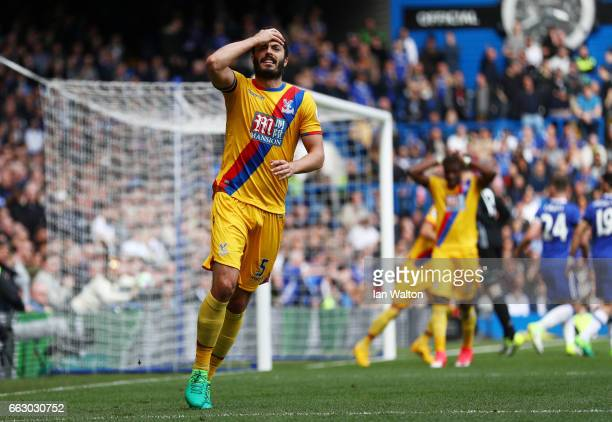 James Tomkins of Crystal Palace reacts during the Premier League match between Chelsea and Crystal Palace at Stamford Bridge on April 1 2017 in...