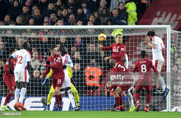 James Tomkins of Crystal Palace scores his sides second goal during the Premier League match between Liverpool FC and Crystal Palace at Anfield on...