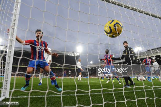 James Tomkins of Crystal Palace scores his teams first goal which is later disallowed by VAR during the Premier League match between Crystal Palace...