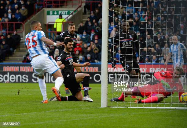 James Tomkins of Crystal Palace scoring their first goal during the Premier League match between Huddersfield Town and Crystal Palace at John Smith's...