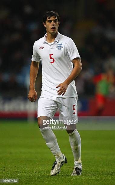 James Tomkins of England is shown in action during the UEFA U21 Championship qualifier between England and Macedonia at the Ricoh Arena on October 9...