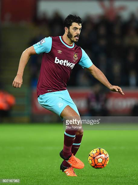 James Tomkins of West Ham in action during the Barclays Premier League match between Swansea City and West Ham United at the Liberty Stadium on...