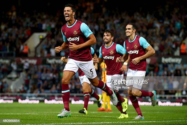 James Tomkins of West Ham United celebrates after his goal during the UEFA Europa League second qualifying round match between West Ham and FC...