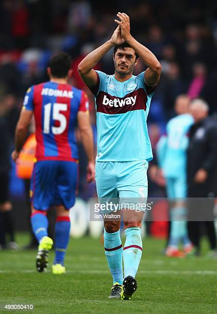 James Tomkins of West Ham United celebrates his team's 31 win in the Barclays Premier League match between Crystal Palace and West Ham United at...