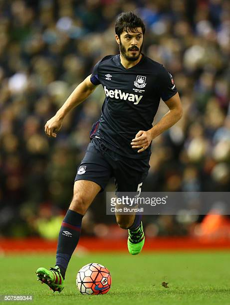 James Tomkins of West Ham United in action during The Emirates FA Cup Fourth Round match between Liverpool and West Ham United at Anfield on January...