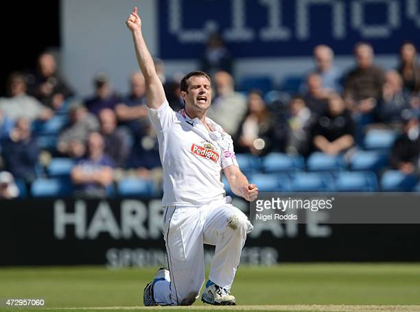 James Tomlinson of Hampshire celebrates taking the wicket of Tim Bresnan of Yorkshire during day two of the LV County Championship Division One match...