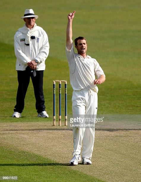 James Tomlinson of Hampshire celebrates the wicket of Charlie Shreck of Nottinghamshire during the LV County Championship match between...