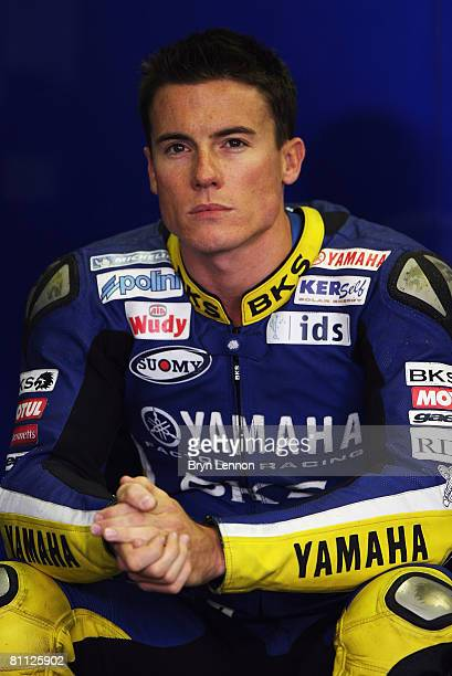 James Toseland of Great Britain and the Tech 3 Yamaha Team prepares for practice prior to qualifying for the MotoGP of France at the Le Mans Circuit...