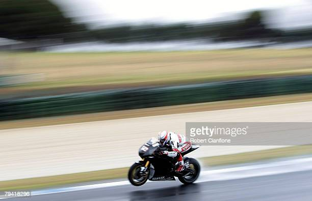 James Toseland of Great Britain and the Yamaha Tech3 Team blasts down the front straight during MotoGP preseason testing at the Phillip Island...