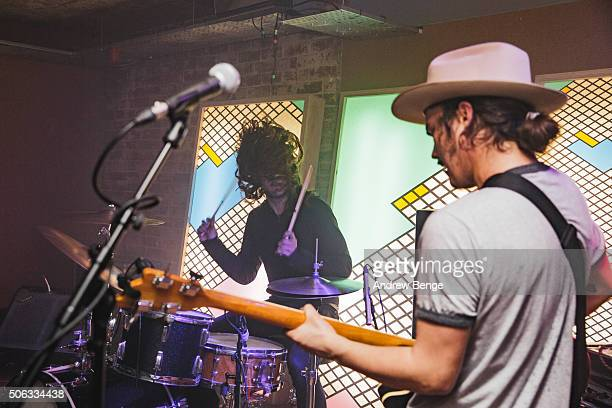 James Traeger and Jakob Bowden of Night Beats perform on stage at Headrow House on January 22 2016 in Leeds England