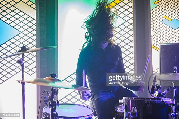 James Traeger of Night Beats performs on stage at Headrow House on January 22 2016 in Leeds England