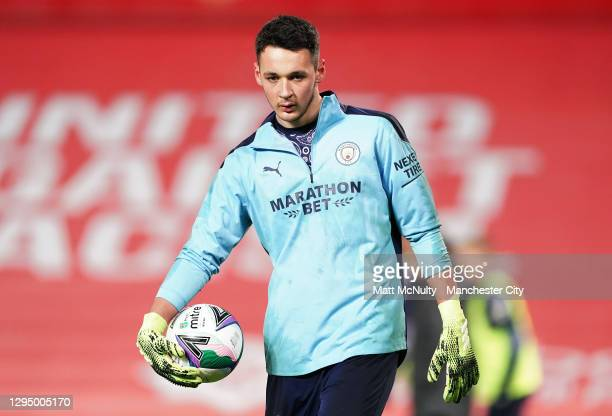 James Trafford of Manchester City during the Carabao Cup Semi Final match between Manchester United and Manchester City at Old Trafford on January...
