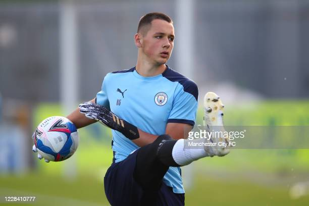 James Trafford of Manchester City during the EFL Trophy match between Mansfield Town and Manchester City U21 at One Call Stadium on September 8, 2020...