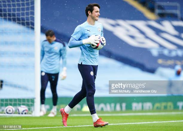 James Trafford of Manchester City in action during the Premier League match between Manchester City and Leeds United at Etihad Stadium on April 10,...
