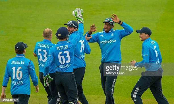 James Tredwell of England celebrates taking the wicket of Kumar Sangakkara of Sri Lanka during the England v Sri Lanka fifth one day international...