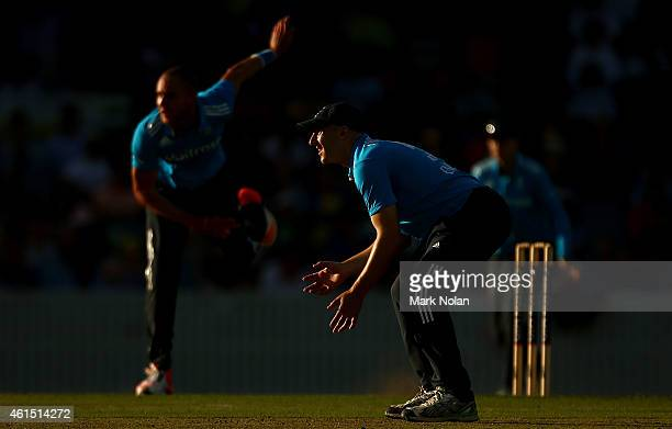 James Tredwell of England fields during the tour match between the Prime Ministers XI and England at Manuka Oval on January 14 2015 in Canberra...