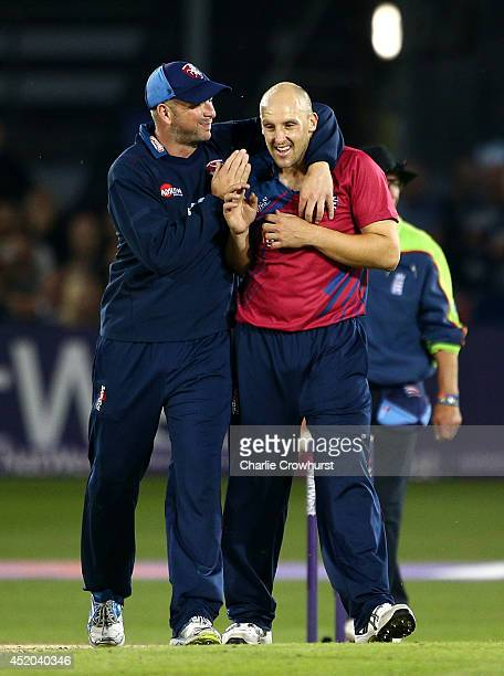 James Tredwell of Kent celebrates with team mate Darren Stevens after bowling and catching Sussex's Yasir Arafat during the Natwest T20 Blast match...