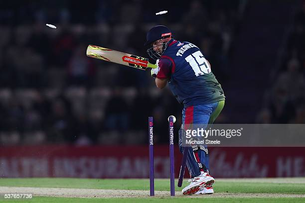 James Tredwell of Kent is bowled by Tino Best of Hampshire during the NatWest T20 Blast match between Hampshire and Kent the Ageas Bowl on June 2,...