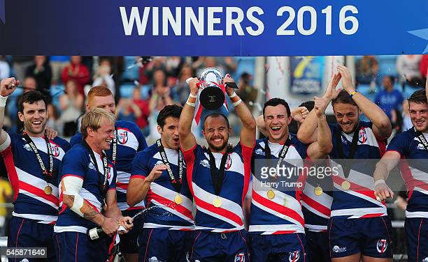 James Trehane Captain of Great Britain Royals lift the Cup Trophy after victory over France during the Cup Final match between Great Britain Royals...