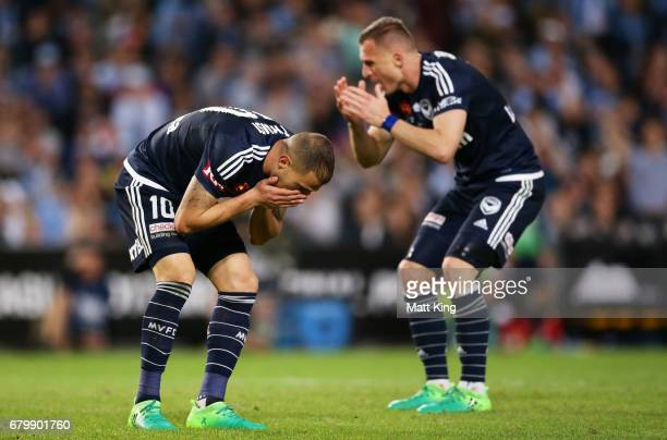James Troisi and Besart Berisha of Melbourne Victory react after a missed opportunity on goal during the 2017 ALeague Grand Final match between...