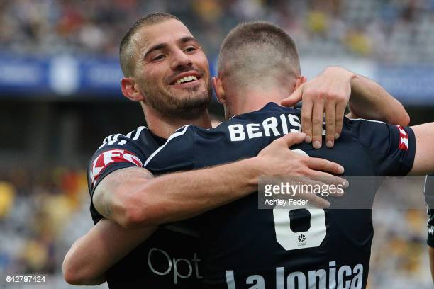 James Troisi and Besart Berisha of the Victory embrace after scoring a goal during the round 22 ALeague match between the Central Coast Mariners and...