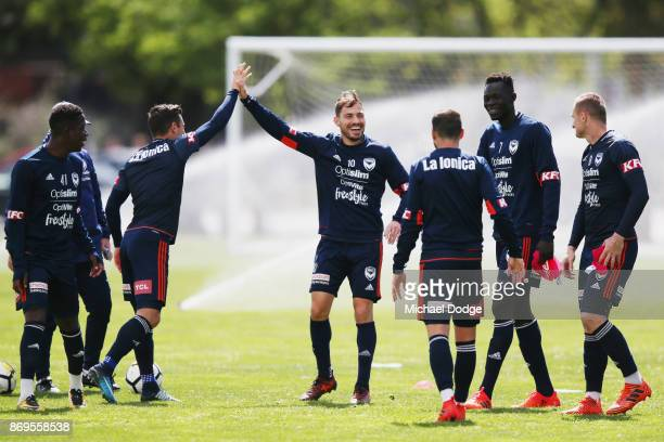 James Troisi celebrates during a Melbourne Victory ALeague training session at Gosch's Paddock on November 3 2017 in Melbourne Australia