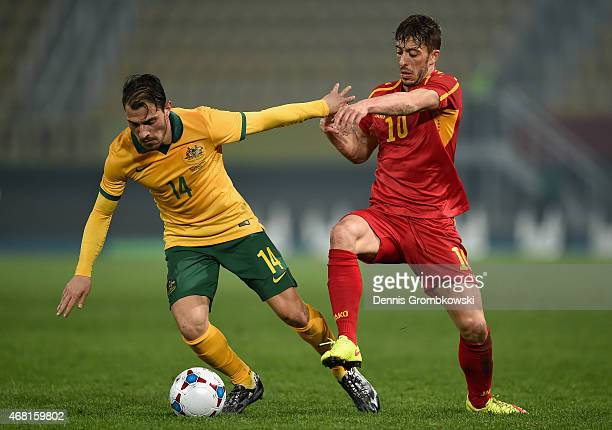 James Troisi of Australia and Agim Ibraimi of Macedonia battle for the ball during the International Friendly match between Macedonia and Australia...