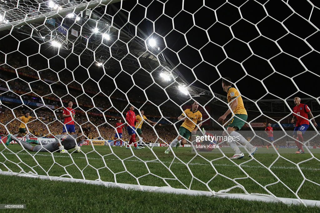 James Troisi of Australia celebrates after scoring a goal during the 2015 Asian Cup final match between Korea Republic and the Australian Socceroos at ANZ Stadium on January 31, 2015 in Sydney, Australia.