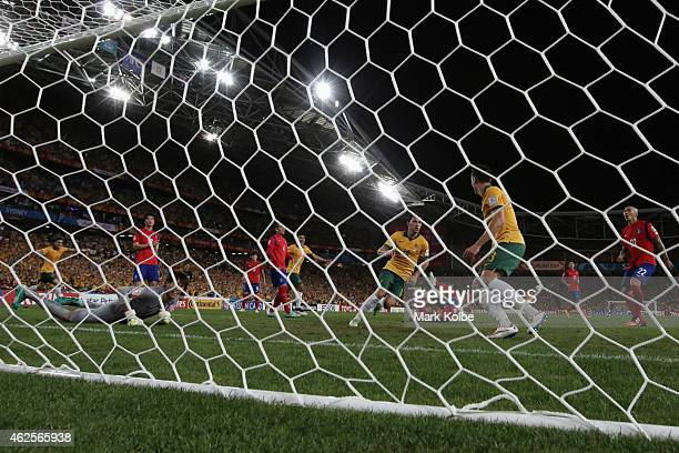James Troisi of Australia celebrates after scoring a goal during the 2015 Asian Cup final match between Korea Republic and the Australian Socceroos...