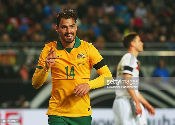 James Troisi of Australia celebrates as he scores their first and equalising goal during the international friendly match between Germany and...