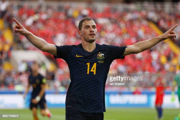 James Troisi of Australia celebrates scoring the opening goal during the FIFA Confederations Cup Russia 2017 Group B match between Chile and...
